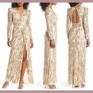 NWT $598 Mac Duggal V-Neck Mineral Sequin Gown 6
